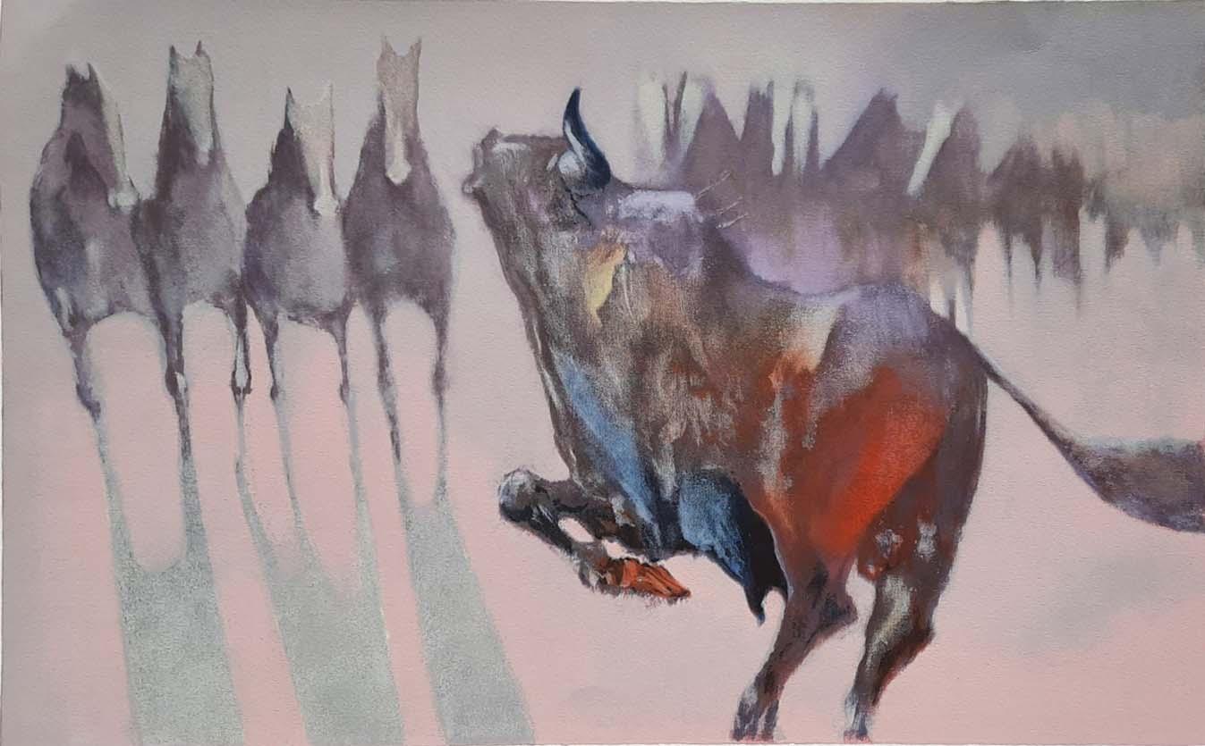 Horses and Bull by  Salomon Edwin